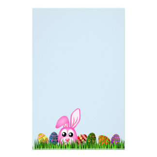Cute Easter Bunny and Eggs in Grass Stationery