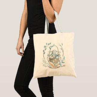 Cute Easter Bunny Basket & Spring Flowers Tote Bag