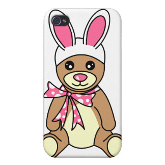 Cute Easter Bunny Ears Teddy Bear Case For The iPhone 4