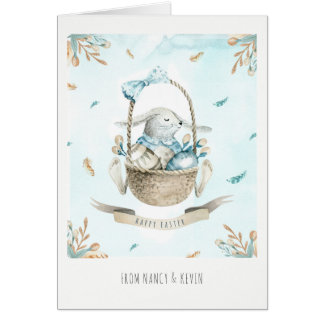 Cute Easter Bunny Flowers & Basket Happy Easter Card