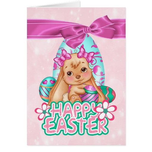 Cute Easter Bunny Greeting Card And Eggs