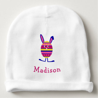 Cute easter bunny pink custom name baby beanie