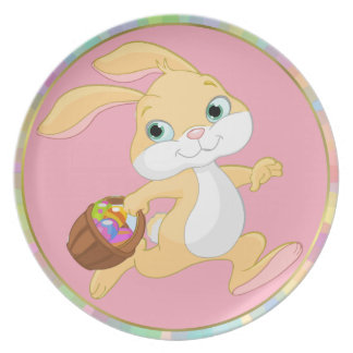 CUTE EASTER BUNNY RUNNING WITH EGGS, EASTER PLATE