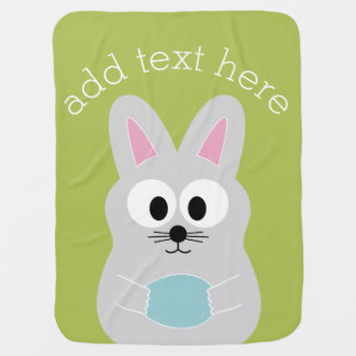 Cute Easter Bunny with Egg and Custom Name Baby Blanket