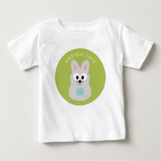 Cute Easter Bunny with Egg and Custom Name Baby T-Shirt