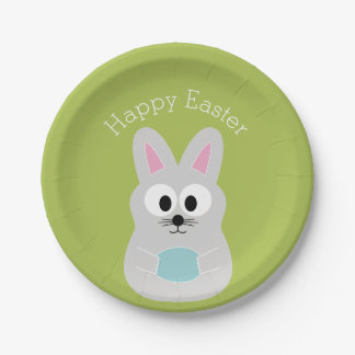 Cute Easter Bunny with Egg and Custom Name Paper Plate