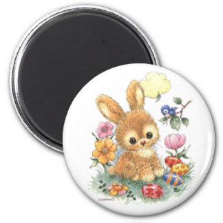 Cute Easter Bunny with Flowers and Eggs 2 Inch Round Magnet