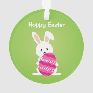 Cute Easter Bunny with Pink Easter Egg Ornament