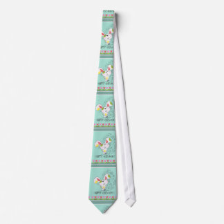 Cute Easter Bunny with tulips and Easter egg Tie