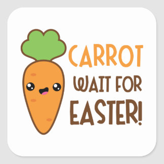 Cute Easter carrot word art Holiday sticker