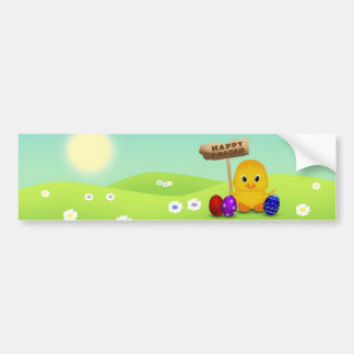 Cute Easter Chick with Sign - Bumper Sticker