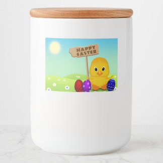 Cute Easter Chick with Sign - Food Container Label