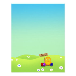 Cute Easter Chick with Sign Stationery Letterhead