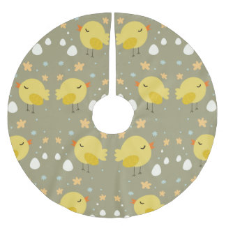Cute easter chicks and little eggs pattern brushed polyester tree skirt