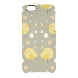 Cute easter chicks and little eggs pattern clear iPhone 6/6S case