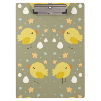Cute easter chicks and little eggs pattern clipboard