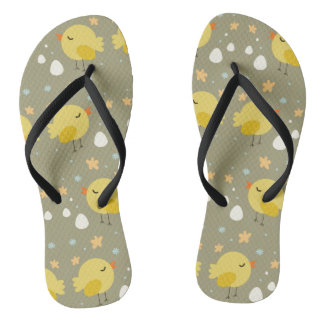 Cute easter chicks and little eggs pattern flip flops