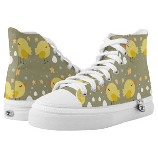 Cute easter chicks and little eggs pattern high tops