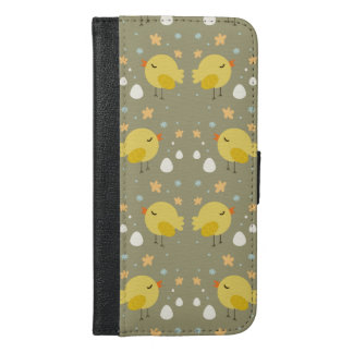 Cute easter chicks and little eggs pattern iPhone 6/6s plus wallet case