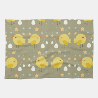 Cute easter chicks and little eggs pattern kitchen towel
