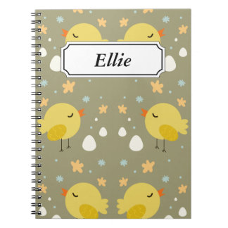 Cute easter chicks and little eggs pattern notebooks