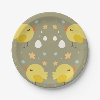 Cute easter chicks and little eggs pattern paper plate