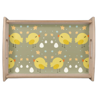 Cute easter chicks and little eggs pattern serving tray