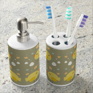 Cute easter chicks and little eggs pattern soap dispenser and toothbrush holder