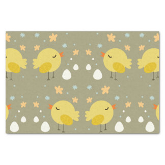 Cute easter chicks and little eggs pattern tissue paper