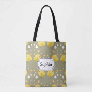 Cute easter chicks and little eggs pattern tote bag