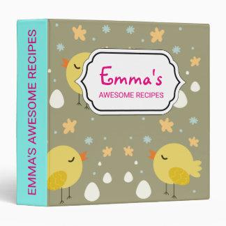 Cute easter chicks and little eggs pattern vinyl binder