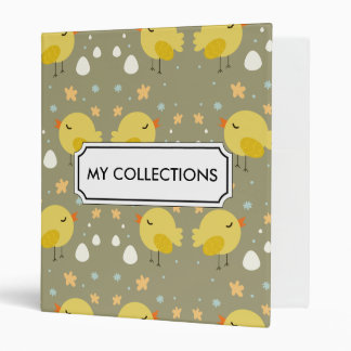 Cute easter chicks and little eggs pattern vinyl binder
