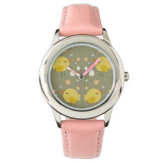 Cute easter chicks and little eggs pattern wrist watch