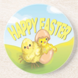 Cute Easter Chicks Happy Easter Coaster