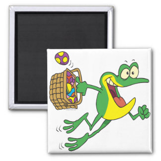 cute easter froggy frog with egg basket square magnet