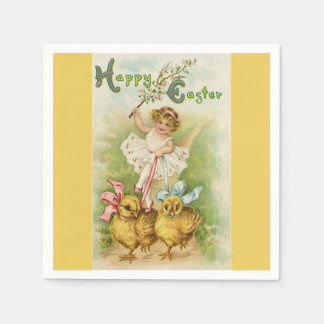 Cute Easter Girl and Chicks Yellow Paper Napkins