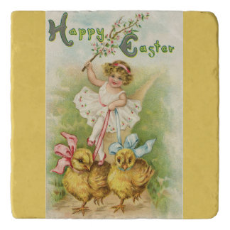 Cute Easter Girl and Chicks Yellow Trivet