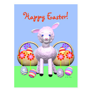 Cute Easter Lamb and Baskets of Eggs Postcard