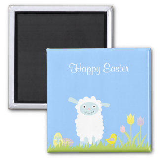 Cute Easter Lamb with Eggs Magnet