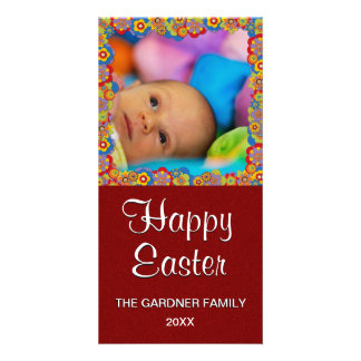 Cute Easter Photo | Springtime Flowers Red Glitter Card