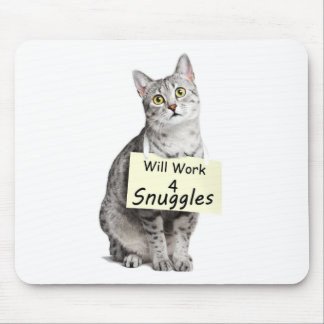 Cute Egyptian Mau Cat Advertising for Snuggles Mouse Pad