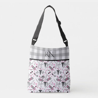 Cute EKG Nurse | Doctor Med Pattern Monogram Crossbody Bag