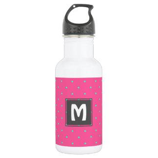 cute elegant baby pink mint polka dots pattern 532 ml water bottle