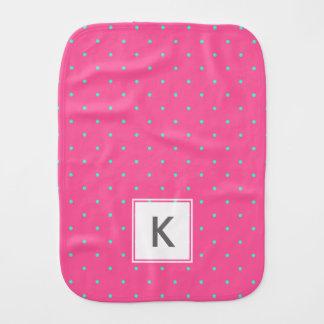 cute elegant baby pink mint polka dots pattern baby burp cloths