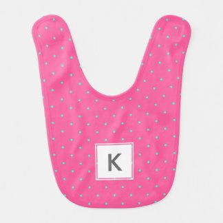 cute elegant baby pink mint polka dots pattern bib