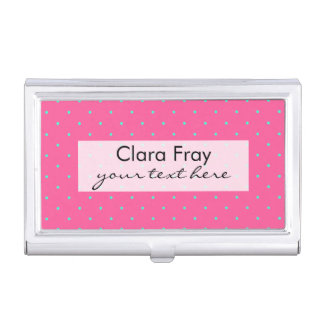 cute elegant baby pink mint polka dots pattern business card holder