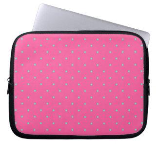 cute elegant baby pink mint polka dots pattern computer sleeve
