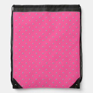 cute elegant baby pink mint polka dots pattern drawstring bag