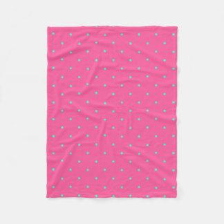 cute elegant baby pink mint polka dots pattern fleece blanket