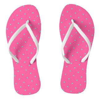 cute elegant baby pink mint polka dots pattern flip flops